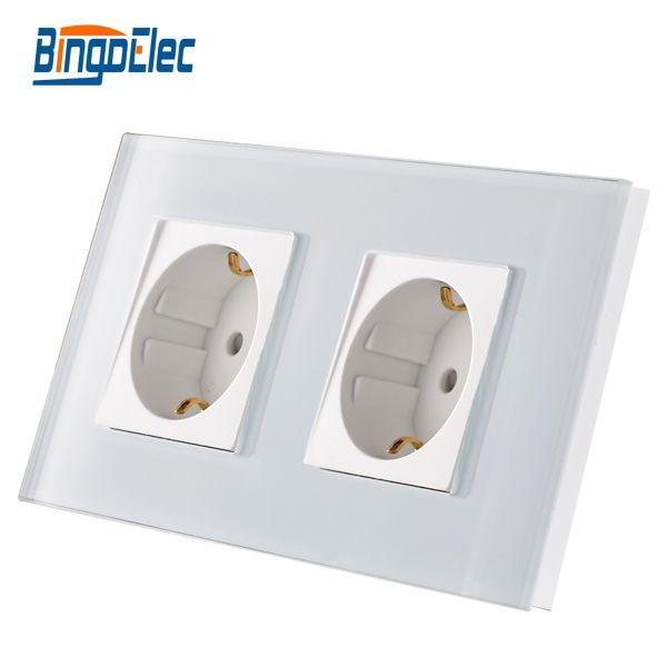 EU standard double gang power socket,germany type wall socket,white Crystal toughened glass panel,16A wall socket,