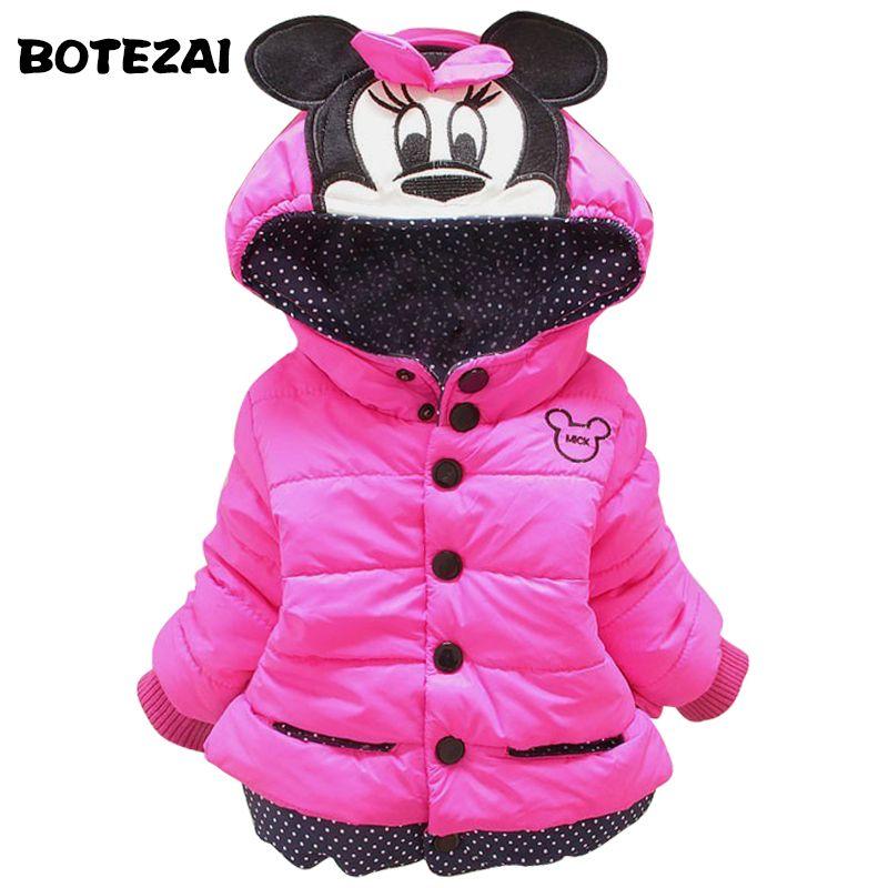 Nouveau 2017 bébé enfants manteau pour enfants, enfants survêtement et manteaux, filles hiver Minnie manteau, enfants vestes, casual bébé vêtements