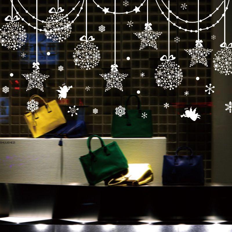 [SHIJUEHEZI] Étoiles Flocons De Neige Ange En Verre Autocollants BRICOLAGE De Noël Stickers Muraux pour Salon Boutique Fenêtre Nouvel An Décoration