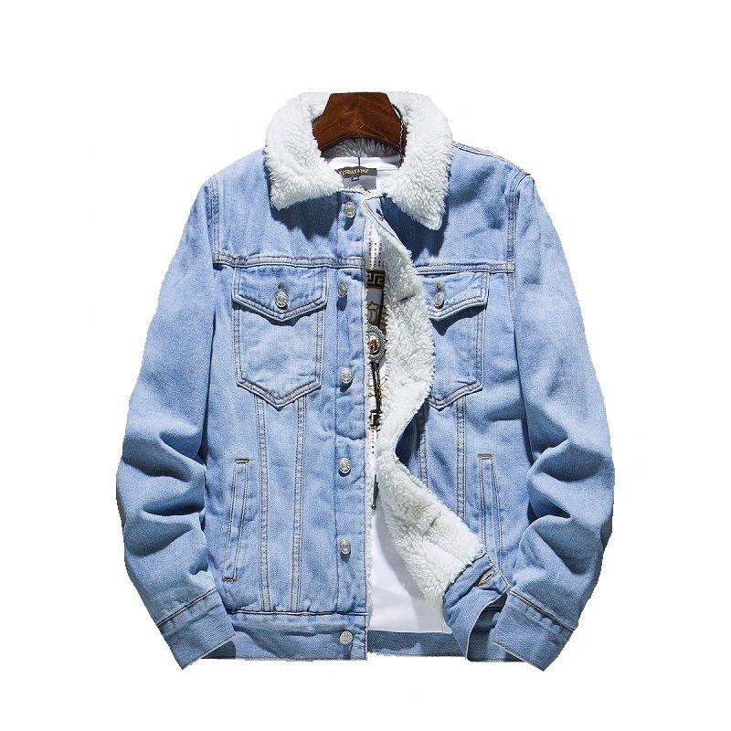 2018 Winter Denim Jacket Mens Cotton Casual Fleece Warm Bomber Jacket Men Jean Jacket Mens Outwear Male Cowboy Plus Size S-6XL