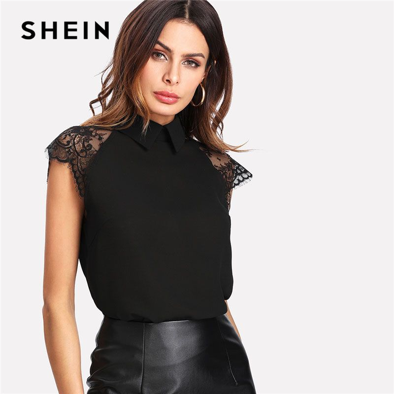 SHEIN Floral Lace Cap Sleeve Blouse <font><b>Black</b></font> Peter pan Collar Button Women Elegant Top Summer Short Sleeve Plain Workwear Blouse