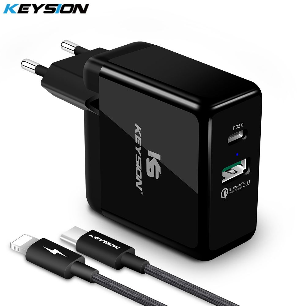 KEYSION 2 Ports 36W USB-C PD Fast Charger Type-C Travel Wall Quick Charger QC 3.0 for iPhone XS Max XR X 8 Plus S8 S9+ NOTE 9 8
