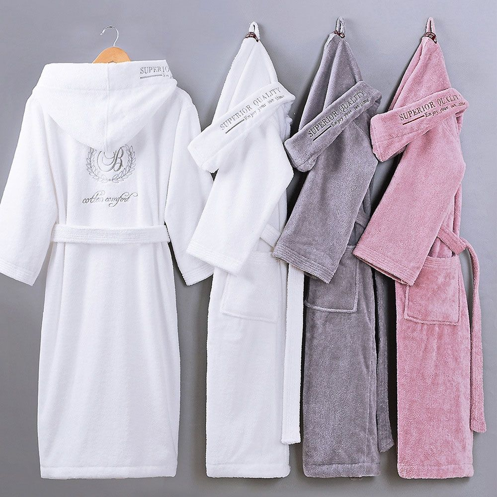 XMS Brand 100% Cotton Bathrobe Hooded Thick warm Winter/Spring Dressing Gown Long Robe Wedding Bridesmaid Robe white/Grey Color