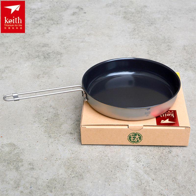 Keith 1L Folding Handle Non-stick Frying Pan Camping Cookware Titanium Outdoor Camping Picnic Hiking Pan Lightweight Ti8150