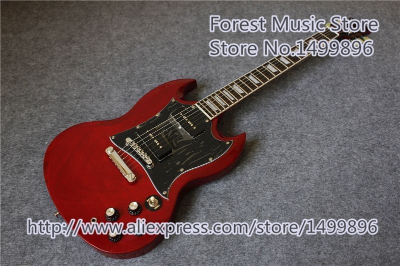 Hot Selling Chinese SG Electric Guitars With P-90 Pickups As Pictures Left Handed Custom Available