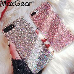 MaxGear para iPhone 6 6 s caso silicio Bling Glitter Crystal lentejuelas TPU suave Fundas para el iPhone 5 5S 7 8 más X