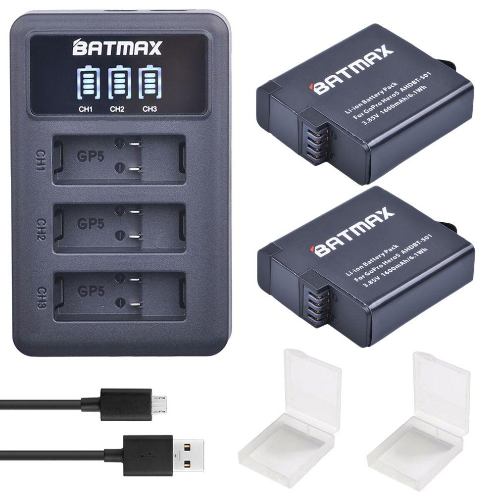 2Pcs AHDBT501 Hero5 Battery Akku+ USB LED 3-Port Charger with Type C Port for GoPro 2018 Hero 5 GoPro Hero 6 Camera Battery