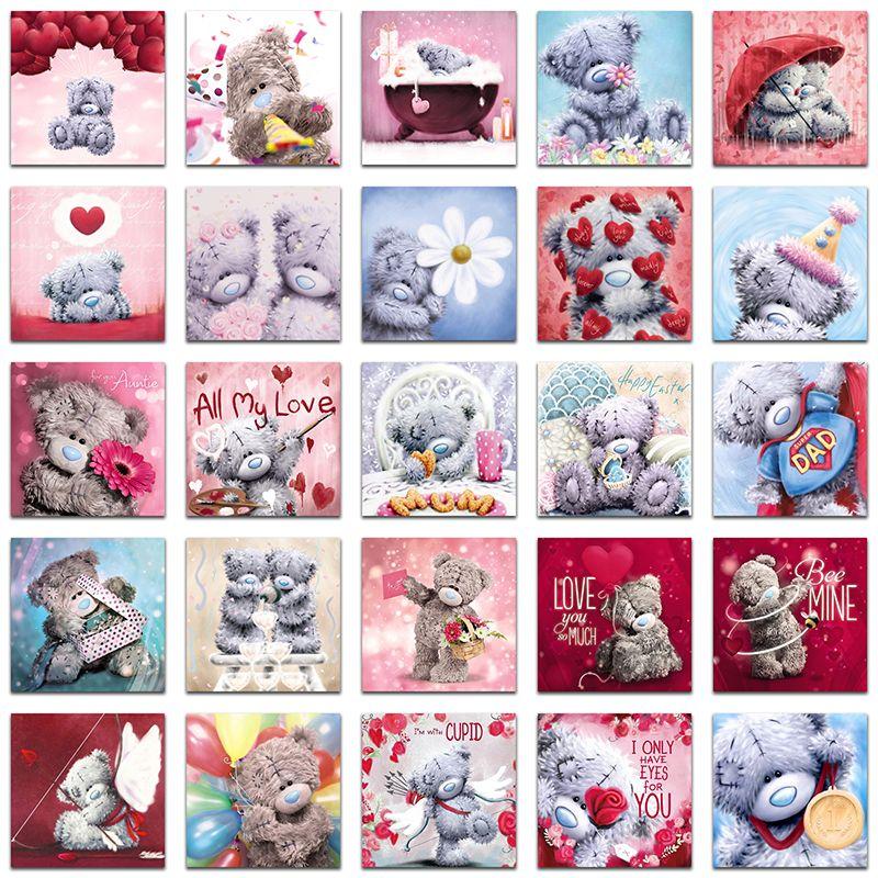 5D DIY Diamond painting Cross stitch Teddy Bear set Full Square Diamond embroidery Cartoon Full Round Diamond mosaic love heart