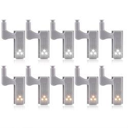 10 piezas inteligente luces del Gabinete 0,3 W armario puerta interior bisagra LED Sensor luz lámpara de noche para la cocina dormitorio