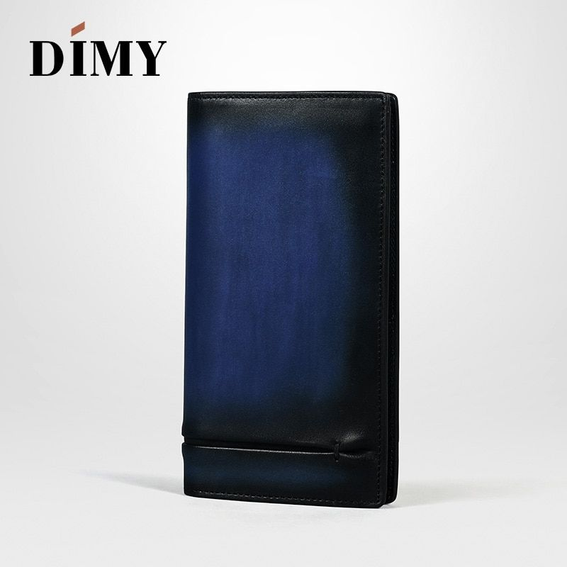 Dimy Vintage Man Wallets Leather Coin Card Holder Concise Money Bag Letter Hand Patina Card Purse Fashion Male Long Handbags