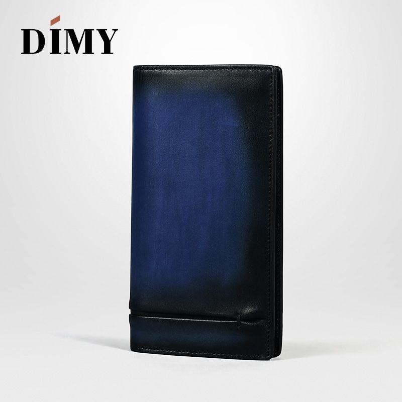Dimy Vintage Mann Brieftaschen Leder Münze Karte Halter Concise Geld Tasche Brief Hand Patina Karte Geldbörse Mode Männlichen Lange Handtaschen