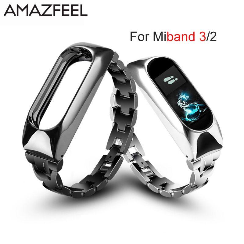 Metal Strap For Xiaomi Mi Band 3 Bracelet Mi Band 2 Stainless Steel Bracelet Screwless MiBand 3 2 Wristbands Replace Wrist Strap