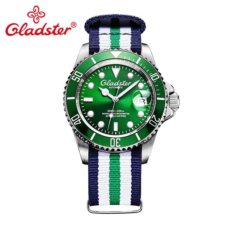 Gladster Casual Fashion Green Diver Male Mechanical Watch Multicolor Nylon Cloth Men Wristwatch Luxury Brand Designer Man Clock
