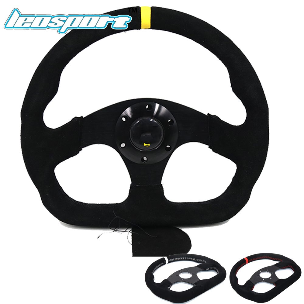 Leosport-13inch For OMP MOMO style Steering Wheel Suede Leather black red white line Steering Wheel Flat Game Steering Wheel