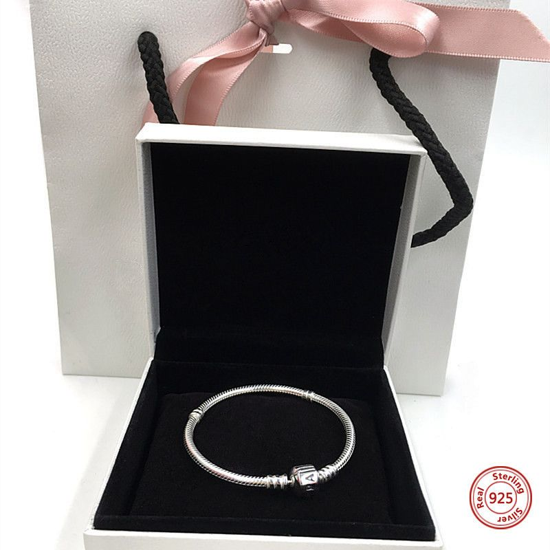 Perfect Charm logo Engraved Silver S925 chain beads bangle bracciale charms bracelet women jewelry making pulsera iconic DIY