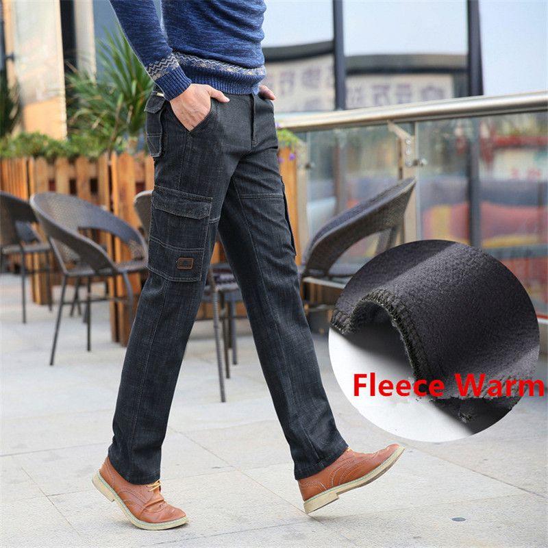 Nianjeep 2017 Fleece Warme Winter Cargo Pants Denim Jeans Männer Casual tasche Jeans Marke männer Kleidung Military 338
