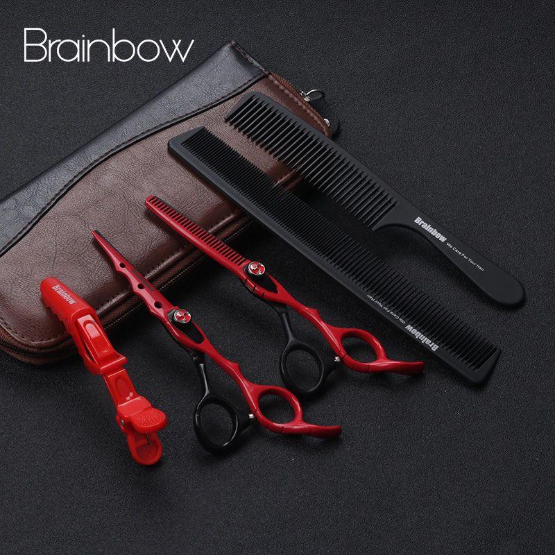 Brainbow 6.0 'japon ciseaux de coiffure coupe de cheveux ciseaux amincissants ensemble ciseaux de barbier Tijeras Pelo Salon de coiffure de haute qualité