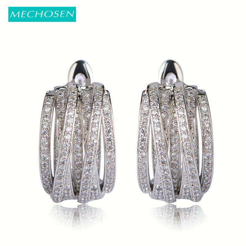 Boucles d'oreilles en cristal multicouches meselected pour femmes Piercing d'oreille en zircone cubique Cool bijoux en cuivre européen et américain Brinco