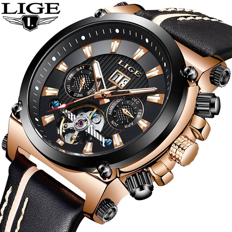 2019 LIGE Männer Uhr Mode Automatische Mechanische Tourbillon Leder Luxus Marke Sport Wasserdichte Uhren Herren Relogio Masculino