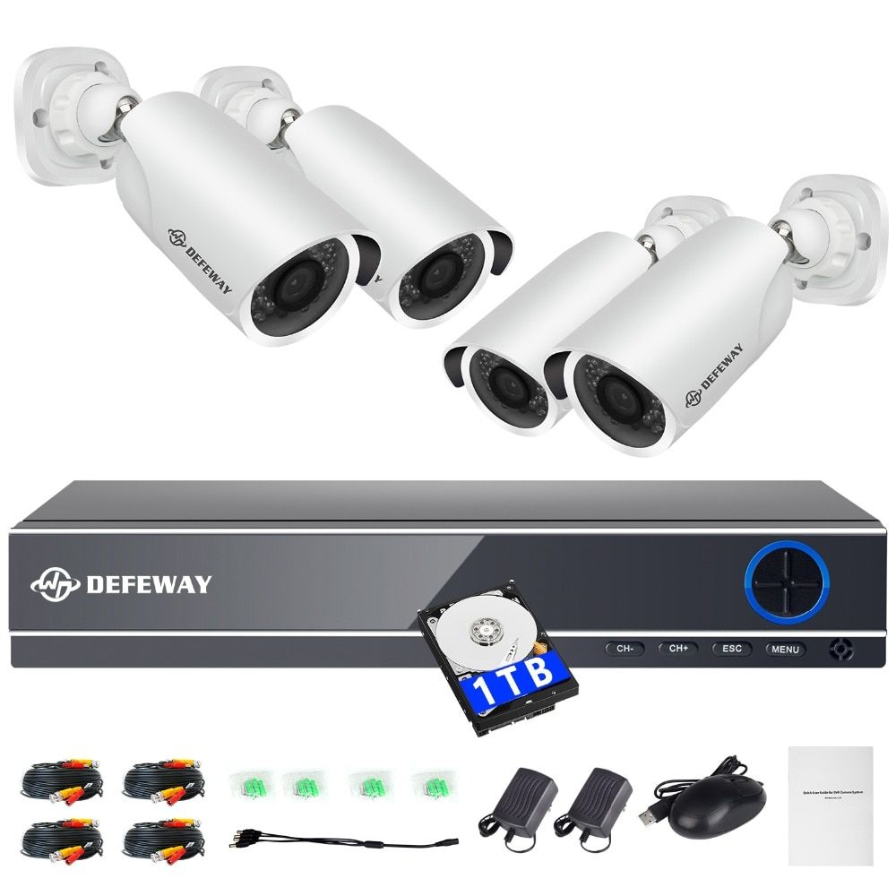DEFEWAY 1080P 2000TVL HD Home Security Camera System 4CH CCTV Video Surveillance DVR Kit AHD 4 Camera Set with 1000G Hard Stick
