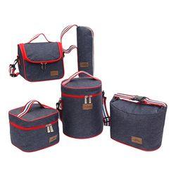 Denim bolsa de almuerzo Bento Box Pack aislados Picnic beber alimentos térmicos hielo enfriador ocio accesorios suministros artículos de productos
