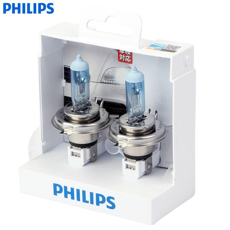 Philips WhiteVision One Pair Of Car Halogen Headlight 4300K H1 H4 H7 H11 H3 HB3 HB4 12V 55W Whitelight Brighten 60% Headlights