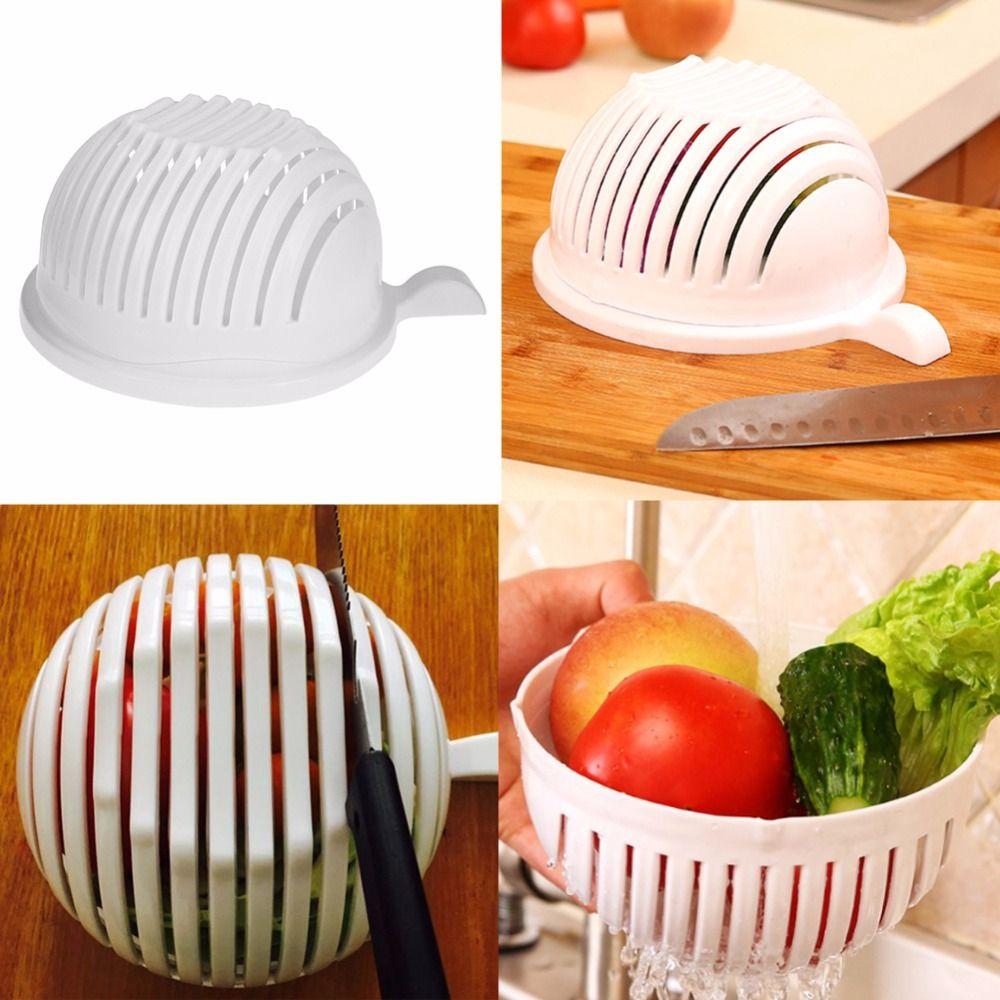 New 60 Second Fruit Salad Cutter Bowl Wave Shape Easy Salad Maker Fruit Vegetable Cutter Quick Washer Chopper Kitchen Gadgets