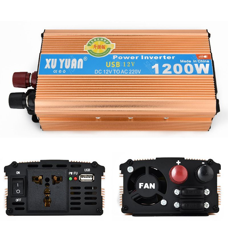 1200W MAX DC 12 V to AC 220 V Car Power Inverter with USB Charging Port Adopting Aluminum Alloy Case, Antioxidant