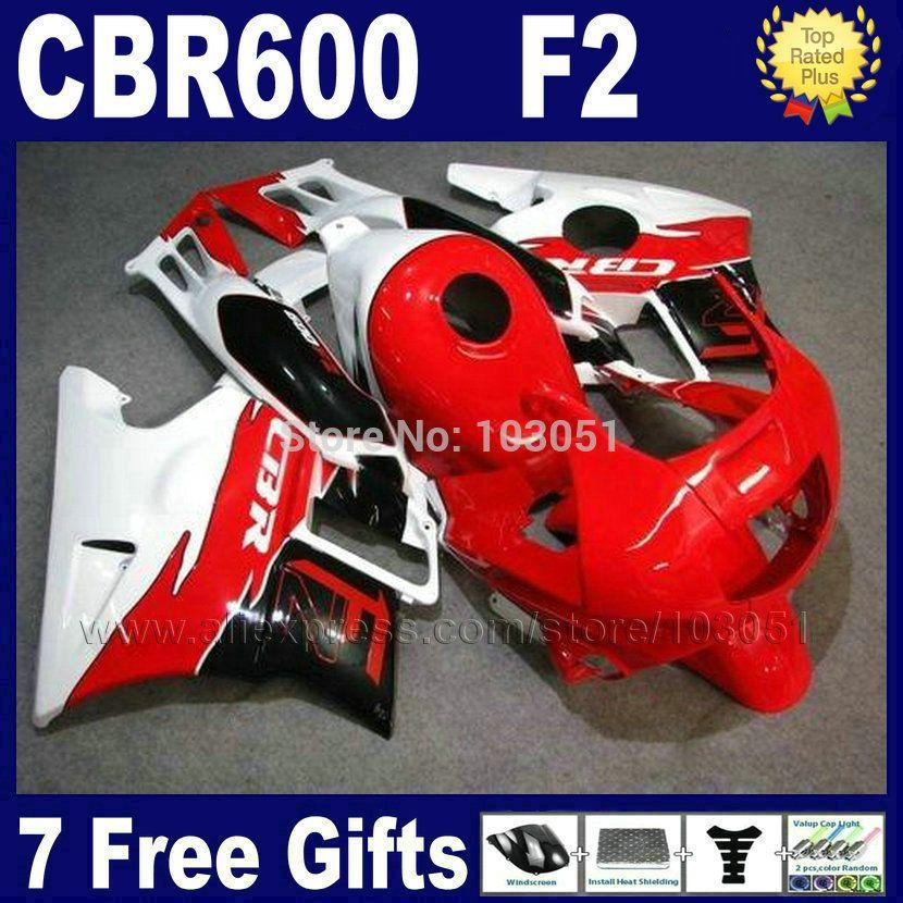 Custom Motor fairings kits for Honda 1993 1994 CBR 600 F2 1991 1992 CBR600 91 92 93 94 F2 CBR600 F red white road fairing sets