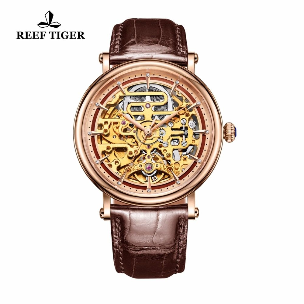 Reef Tiger/RT Mens Mechanical Skeleton Watch with Rose Gold Genuine Leather Band Vintage Watches RGA1917