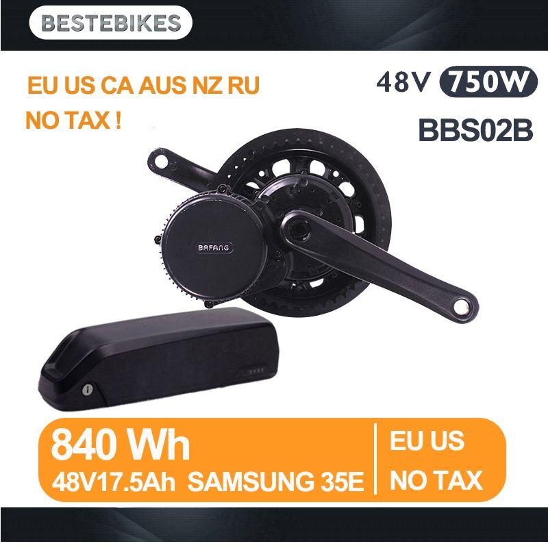 Bafang motor BBS02B 48V 750W velo electrique bicicleta electrica electric bicycle kit 840WH/48v17.5ah samsung 35E EU US NO TAX