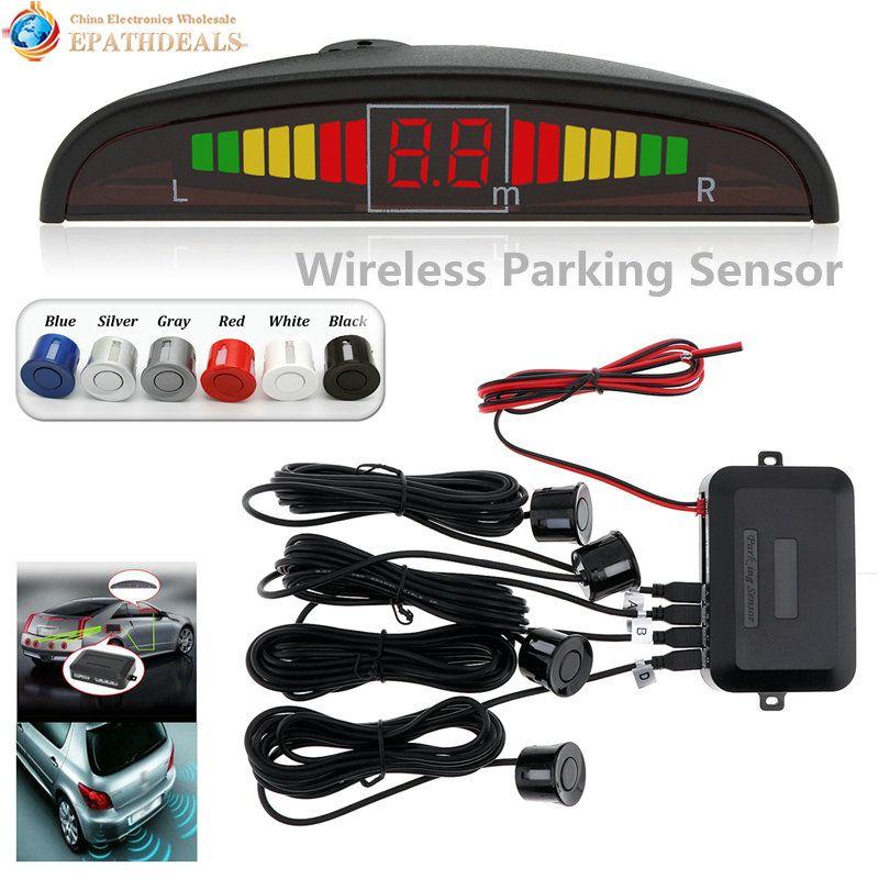 Wireless Auto Car Parktronic LED Parking Sensor System Reverse Backup Monitor Radar Detector with 4 Sensors Sound Buzzer Alarm