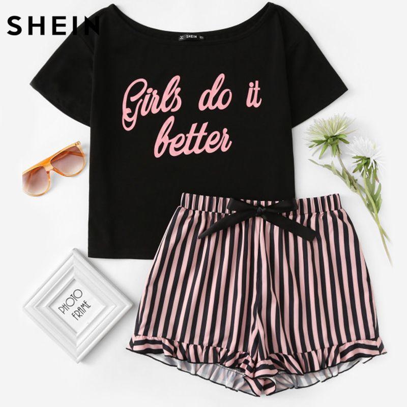 SHEIN, Carta de Impresión de Manga Corta y Pantalones Cortos A Rayas Pijama Pijama Conjunto Señoras Del Sueño Del Verano Viste de Mujer Casual