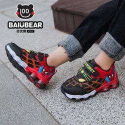Nuevo Otoño Primavera Zapatos de Los Niños Spiderman Flash de Noche Luz Zapatillas Deportivas Zapatos para Niños Chicos Zapatilla de Deporte de Los Niños botas Niñas