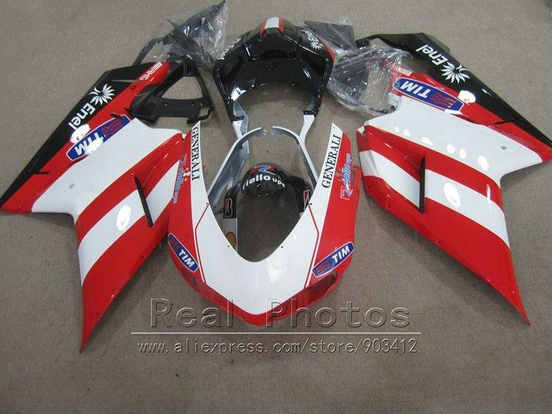 Kostenlose anpassen verkleidung kit für Ducati 848 1098 07 08 09 10 11 rot weiß schwarz karosserieverkleidungen eingestellt 848 1198 2007-2011 DY94