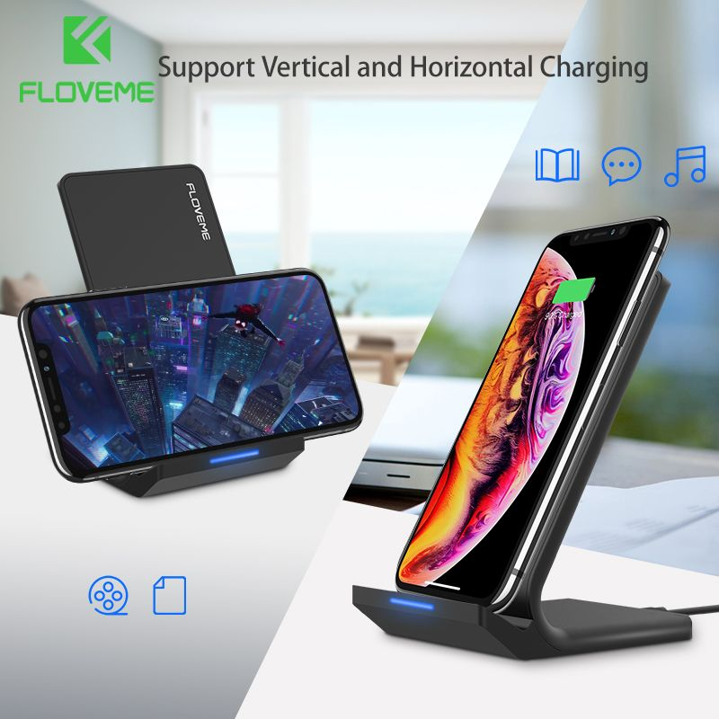 FLOVEME 5V/2A Wireless Charger For Samsung Galaxy S8 S7 S10 Note 8 9 Qi Wireless Charging Dock For iPhone X 8 XS MAX USB Charger