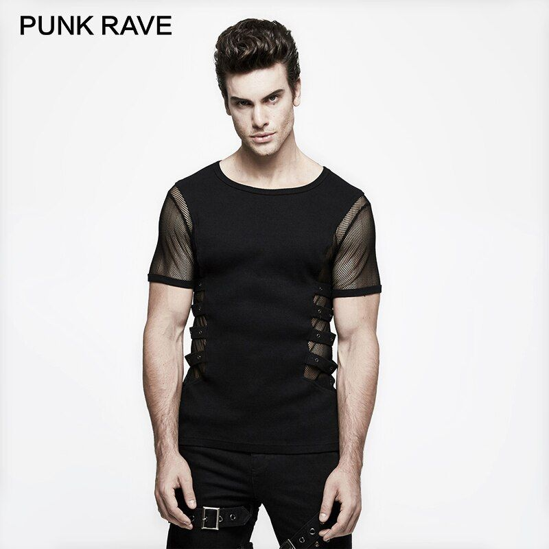 PUNK RAVE Personality Punk Rock T-shirt Men Black Knitted Street Mesh Sexy Tee Shirt Top Steampunk Metal Black Top Sexy Gothic