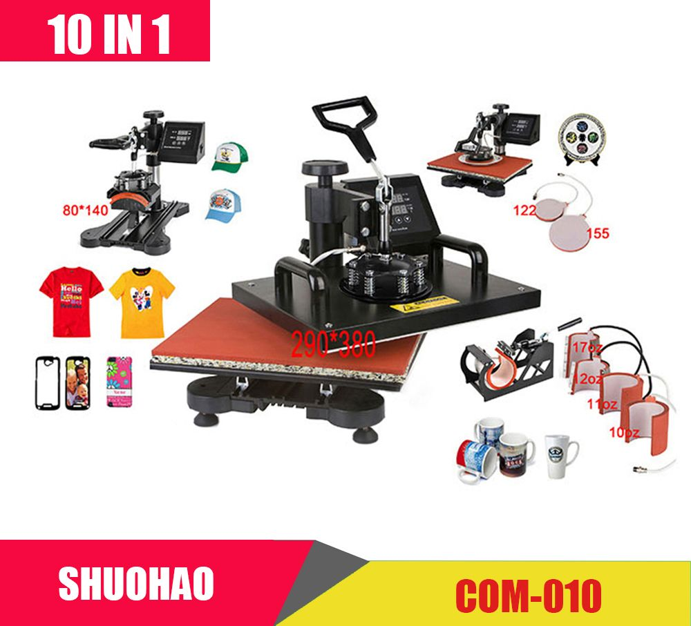 Advanced New Design 10 In 1 Combo Heat Press Machine,Sublimation/Heat Press,Heat Transfer Machine For Mug/Cap/Tshirt/Phone cases