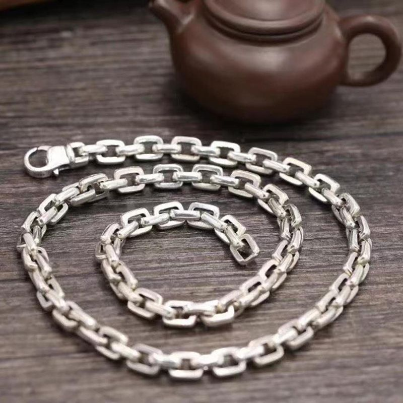 SOQMO Chain Necklace Pendant 100% Real 925 sterling silver Punk Wide 7mm Long Necklace men body fine jewelry accessories SQM151