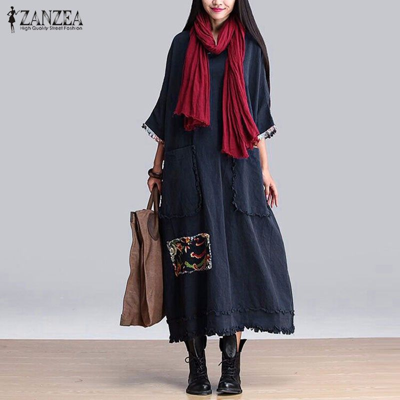 ZANZEA Women Vintage Elegant Dress 2018 Spring Splice O Neck 3/4 Sleeve Pockets Casual Loose Solid Maxi Long Oversized Vestidos