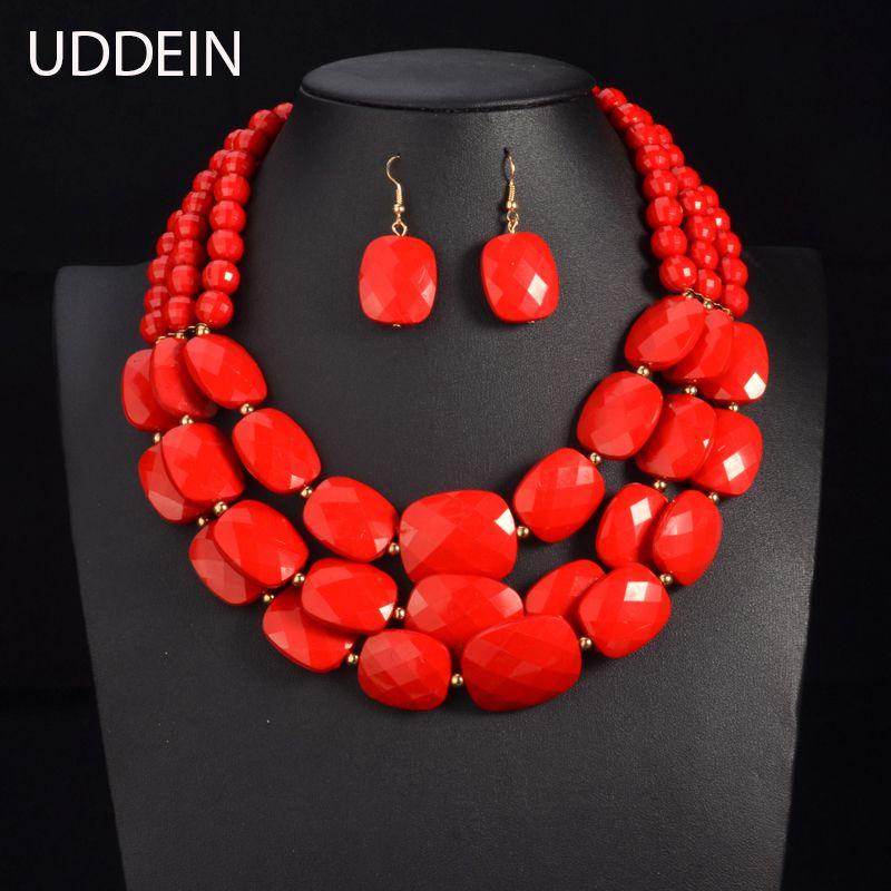 UDDEIN couleur perles africaines ensembles de bijoux perles multicouches ensembles de bijoux indiens déclaration de luxe collier ras du cou bijoux de mode