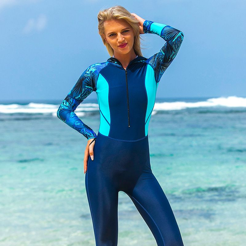 Sbart Lady Swimwear Women Hooded Diving Suits Print Swimsuit Female Wetsuits Scuba Snorkeling Equipment One Pieces Rash Guards