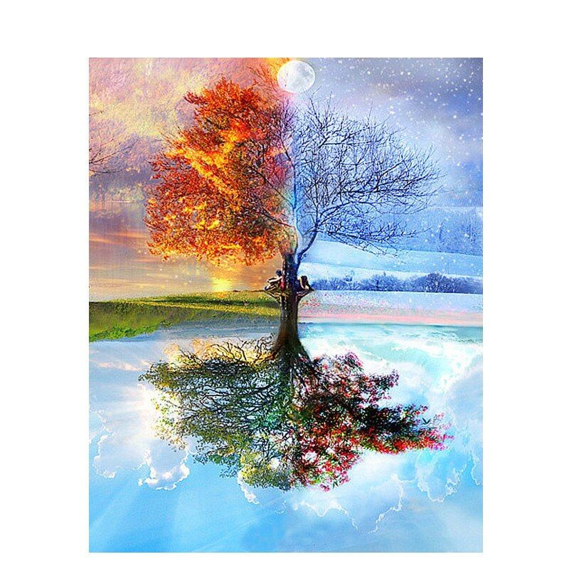Peinture par numéros bricolage livraison directe 50x65 60x75cm magique quatre saisons arbre paysage toile mariage décoration Art image cadeau