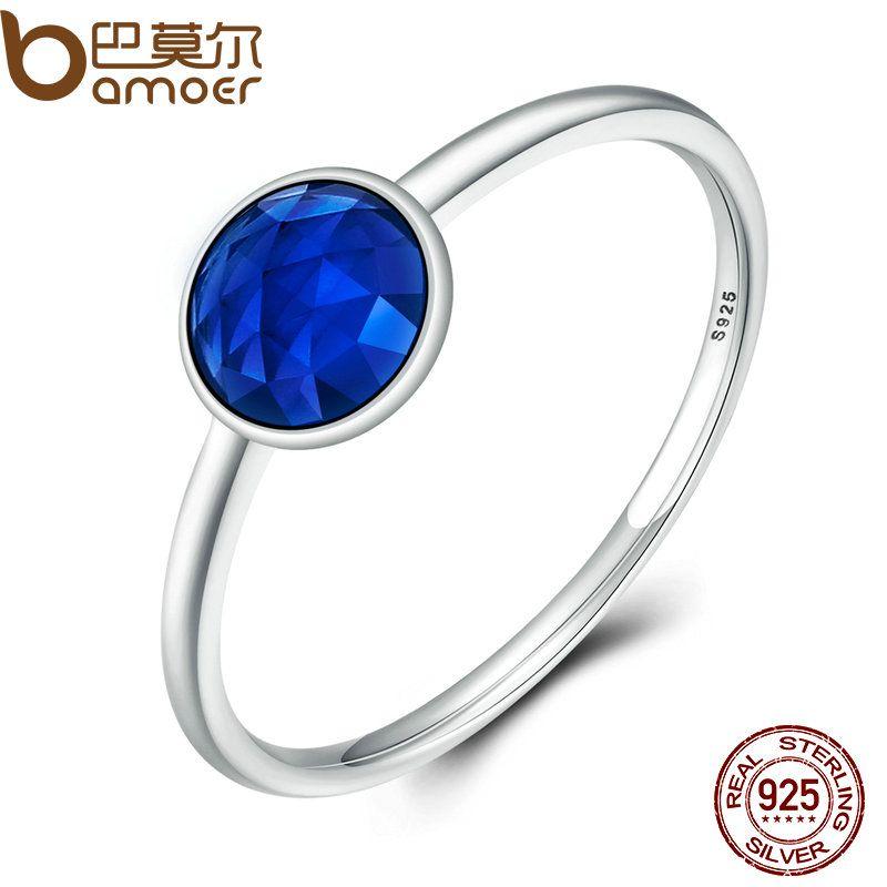 BAMOER 100% 925 Sterling Silver SEPTEMBER Birthstone DROPLET RING Blue Stone Finger Ring Women Wedding Jewelry PA7613