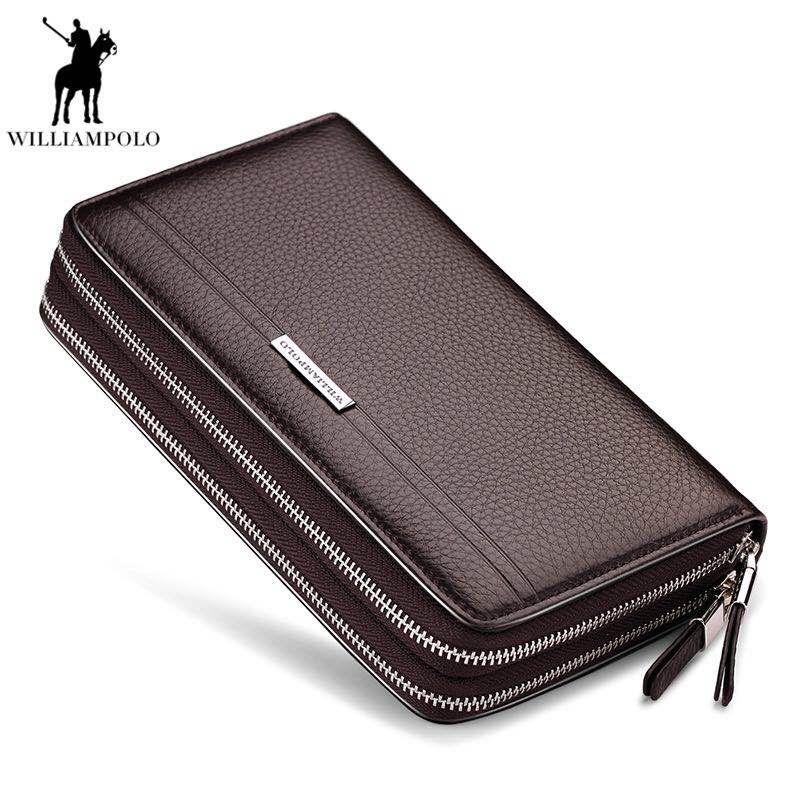 WILLIAMPOLO Leder Vintage Feste Clutch Bag Phone und Karte Marke Herren Brieftasche Doppel-reißverschluss Aus Echtem Leder Handliche Geldbörse polo163