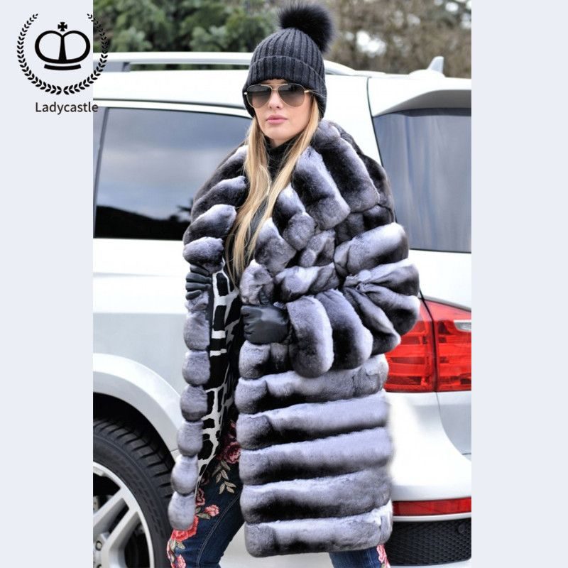 2018 New Real Chinchilla Rex Rabbit Fur Coat With Big Hood Full Length Fur Coat Rabbit Long Women Jackets Down Plus Size RB-058