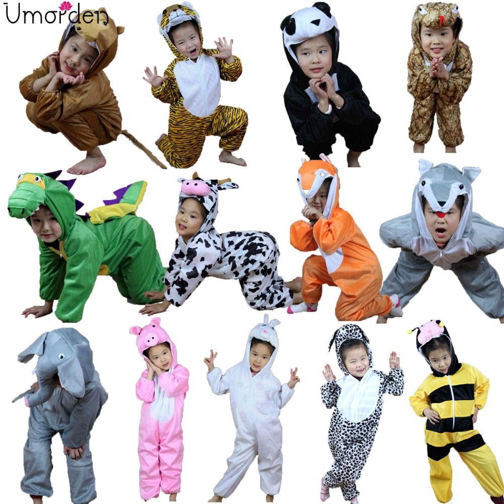 Enfants de dessin animé Enfants Animaux Costume Cosplay Vêtements Dinosaure Tigre Éléphant Halloween Animaux Costumes Salopette pour Garçon Fille