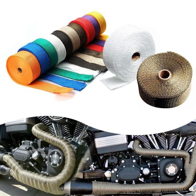 CAR MOTORCYCLE Incombustible Turbo MANIFOLD HEAT EXHAUST WRAP TAPE THERMAL STAINLESS TIES1.5mm*25mm*5m