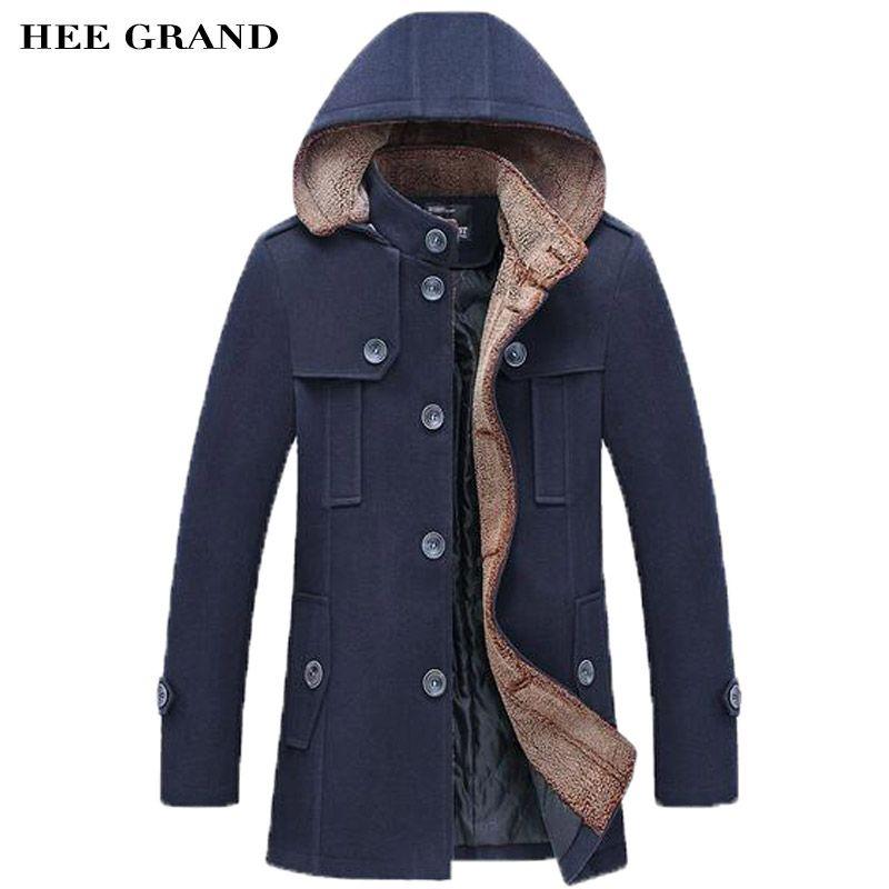HEE GRAND Männer Mode-stil Dicke Warme Wollmantel Stehkragen Einreiher Mit Abnehmbaren Hut Winter Blends MWN251