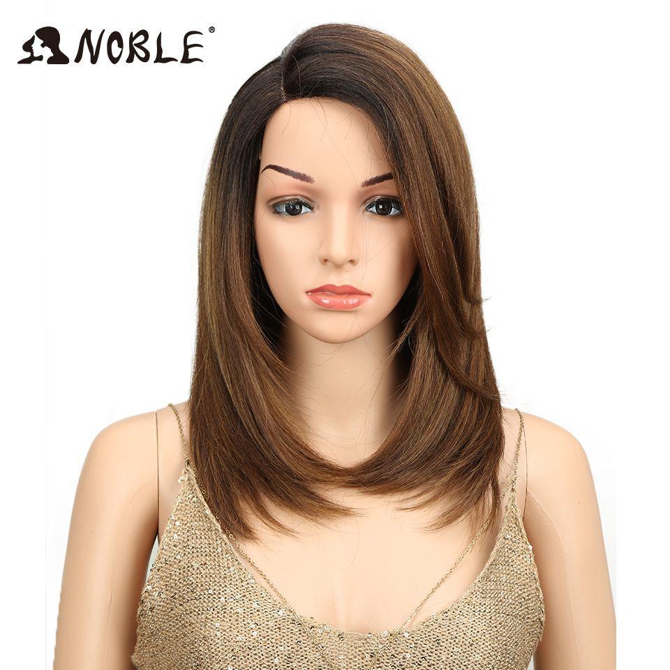 Noble court BOB perruque pour les femmes cheveux synthétiques partie latérale dentelle 18 résistant à la chaleur haute température fibre sans colle Ombre perruque droite
